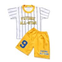 WakaKids Baju Anak Laki Laki Tangan Pendek Kaos Future Salur 2891 - Kuning