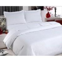 BED COVER SET Polos Warna Putih / Sprei Hotel King Size Tinggi 30cm