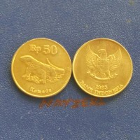 uang lama koin kuno Indonesia rp. 50 komodo tahun campur untuk koleksi