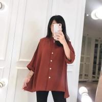 TOP PURE PLAIN - Pakaian Wanita Big Size Bahan Halus dan Adem - Bata