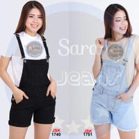 [SIZE 27-34] Celana Kodok Pendek Overall Short Jeans Kodok Wanita - Hitam, 28