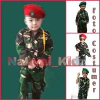 Baju Kostum Karnaval anak Doreng TNI ABRI Khusus  Baret