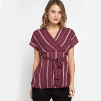 KORZ Cross Over Striped Blouse With Self Tie Belt