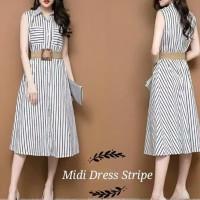 kemeja dress mini baju wanita garis garis salur midi stripe korea