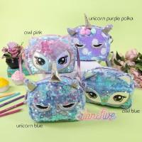 Tas Slingbag / Tas Selempang - Sequin Owl Starfive - Pink