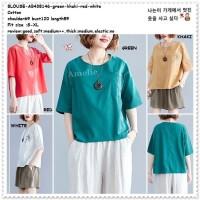 AB438146 Baju Atasan Wanita Blouse Korea Import Merah Putih Red Jumbo