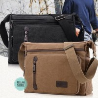 FellahStore - Big Size tas bahu selempang kanvas pria Canvas Sling Bag