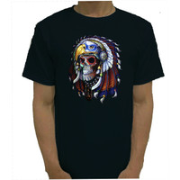 Baju Tshirt Kaos Indian Skull Catton Combed 20s Black Tshirt - XS