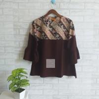 Atasan blouse wanita tangan terompet kombinasi batik