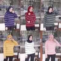 Berskha stripe blaster sweater / SWEATER RAJUT WANITA / BAJU RAJUT - Hitam