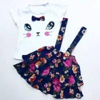 Baju setelan kaos overall dress motif bunga fashion anak bayi cewek