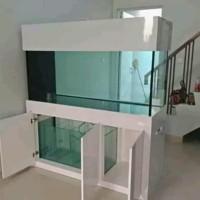 aquarium set putih 100x50x50 kaca 8ml. kabinet 100x80x50