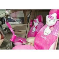 Aksesoris Mobil Sarung jok bantal 18 in 1 hello kitty pink 2 baris