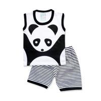 WakaKids Baju Anak Laki Laki Singlet Kaos Panda Salur Baby Putih 3119