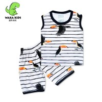 WakaKids Baju Anak Laki Laki Singlet Kaos Bird Salur 3172 - Hitam, S