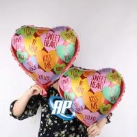 balon foil hati motif text / balon hati / balon love / heart rainbow