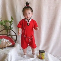 baju bayi jumper merah cheongsam flower for baby girl