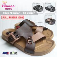 Sandal Slide Warrior - Sendal Pria Cowok - Karet - New - Slipon Slop - Brown Strap, 38