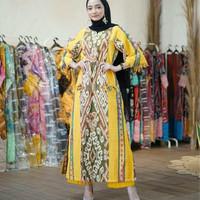 setelan ethnic long dress celana kulot kain tenun jepara blanket