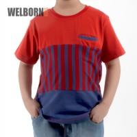Welborn Kids Kaos Oblong Merah Biru Stripes Anak Laki