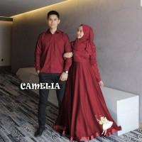 Baju Couple Muslim Gamis Pasangan Baju couple Batik Brukat The Camelia