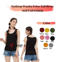 Tanktop Wanita Polos Tali Besar SOFT SPANDEX Singlet Kaos Dalam CEWEK