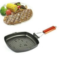 Square Grill Pan 20 Cm Teflon Wajan BBQ Bakaran Sate Serbaguna