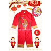 Baju Imlek Cheongsam Qipao Samfu Boy Anak Laki Red Tiger Macan FK93-K
