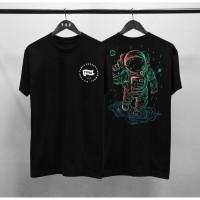T-shirt Astronaut / Baju Kaos Distro Pria Tribe Hitam Pendek Slimfit