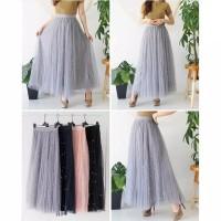 rok panjang wanita / rok tutu mutiara sifon basic simply fashion