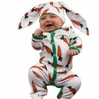 baju bayi romper putih wortel plus topi imut