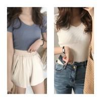 Knit Blouse Wanita V Neck Shirt Import Impor Murah - Putih