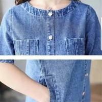 Paling Murah Dress Jeans Denim Baju Hamil Wanita Import Jumbo Big Size