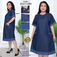 Termurah Dress Jeans Denim Baju Hamil Wanita Impor Jumbo Big Size -