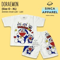 Baju Setelan Anak Cowok Laki Laki [Set Kaos Celana] - Doraemon