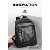 Tas Kulit Asli Bison Denim Original Lembut Backpack Laptop Travel Pria - Hitam