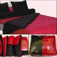 BED COVER SET 2 WARNA MERAH DAN HITAM 180X200 Tebal!!