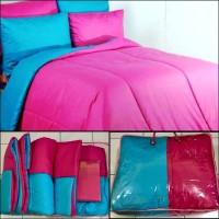 BED COVER SET 2 WARNA PINK Dan BIRU Muda 180X200 Tebal