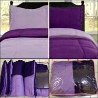 BED COVER SET 2 WARNA UNGU TUA DAN MUDA 180X200 Tebal!!