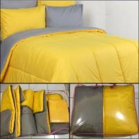 BED COVER SET POLOS 2 WARNA KUNING DAN ABU 180X200 Tebal!!