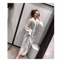 Dress Maxi Gaya Boho / Dress Tranpsaran Mesh Dots Import Sheer Top