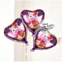 balon foil hati motif unicorn / balon unicorn / balon karakter / heart