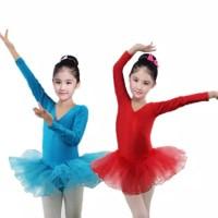 Baju Ballet Balet Kostum Menari Anak Leotard Lengan Panjang Polos Tutu
