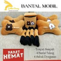 PAHE 9 PCS BANTAL MOBIL BROWN CONY / TEMPAT SAMPAH MOBIL