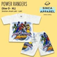 Baju Setelan Anak Cowok Laki Laki [Set Kaos Celana] - Power Rangers
