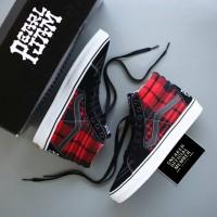Sepatu PEARL JAM x Vans SK8 HI High Black Flannel Red BNIB