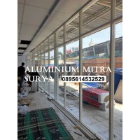 Partisi Kaca Glass Door Kusen Aluminium Pembatas Ruangan