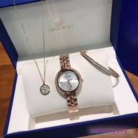 Set Tiga Potong Jam Tangan Wanita Swarovski (Arloji + Gelang + Kalung)