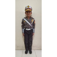 Deri Stelan Seragam Profesi Polisi Kostum Baju Anak Laki-Laki 1-4