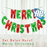 balon foil huruf set MERRY CHRISTMAS / balon natal / balon xmas